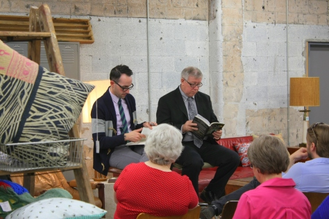 moderator and Will Thomas, Fatal Enquiry book signing at Retro Den (c2014, KB)